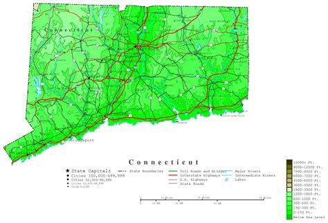 us map connecticut connecticut contour map