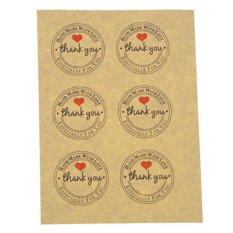 Paper Tags Sticker Thank You 100 pcs thank you self adhesive stickers kraft label thank you stickers gifts custom