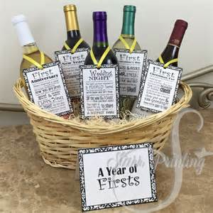 sale set bridal shower wine basket gift set with 5 tags and