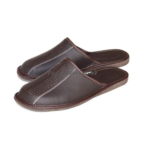 mens leather house slippers buy chockolate brown leather mule slippers for men model no 354j