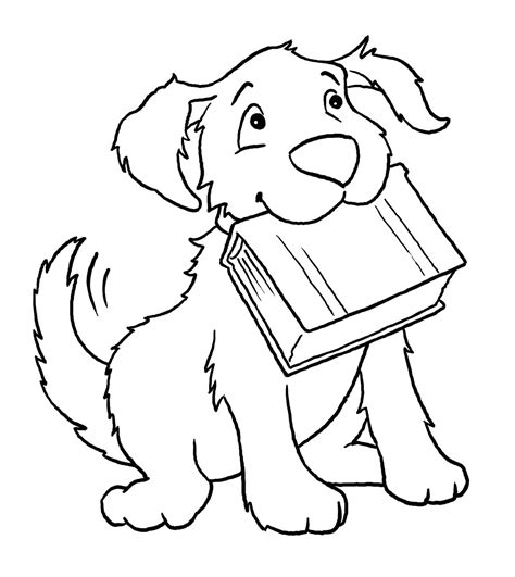 reading dog coloring page caine planse de colorat si educative