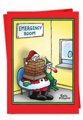 cute clean funny christmas jokes santa in the emergency room card nobleworkscards