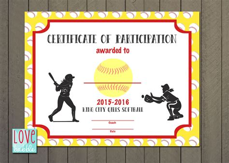 softball certificate templates softball award certificate template best and