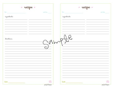 recipe cards half size planner printable pdf template