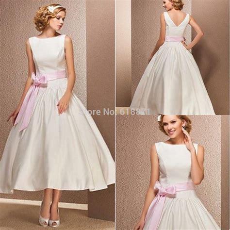 simple tea length wedding dresses simple satin wedding dresses with pink sashes high neck