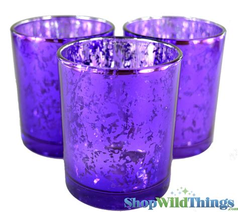 candle holders purple and silver mercury glass discounted bulk 12 pack shape
