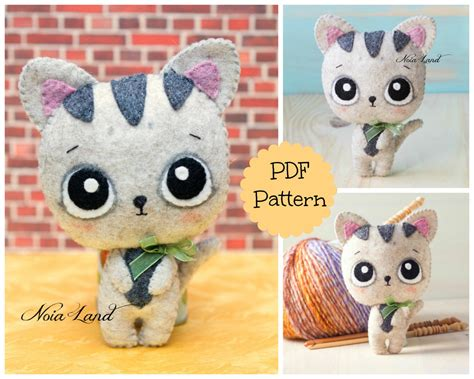 cute kitty pattern and tutorial pdf pattern cute baby cat from noialand on etsy studio