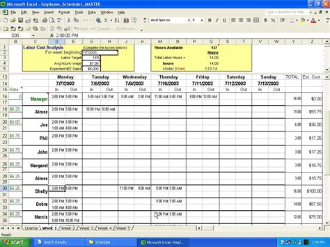 templates for work schedules employee work schedule template