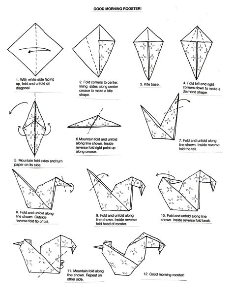 Origami Animals Diagrams - origami rooster search origami
