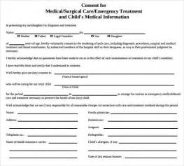 health consent form template sle child consent form 5 free