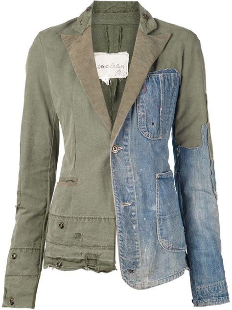 Patchwork Blazer - greg distressed patchwork blazer in green lyst