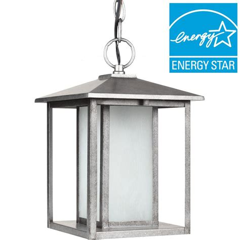 Exterior Ceiling Light Fixture Sea Gull Lighting Hunnington 1 Light Outdoor Weathered Pewter Ceiling Mount Hanging Pendant