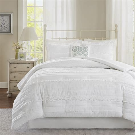 white bedding sets madison park isabella white comforter set ebay