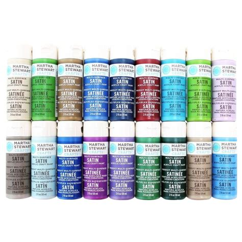 martha stewart crafts 2 oz 18 color multi surface satin acrylic craft paint set promo767d the