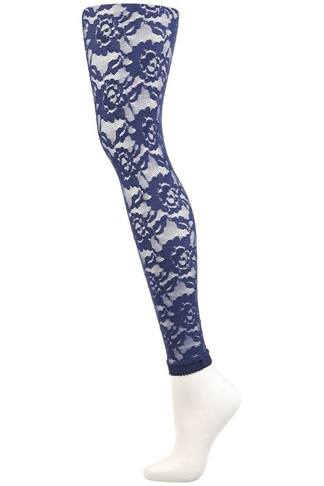 lace tights topshop lace footless tights in blue navy blue lyst