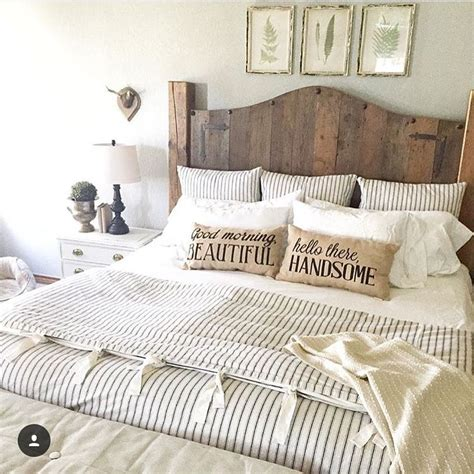 farmhouse style bedding 20 master bedroom decor ideas wood headboard ticking
