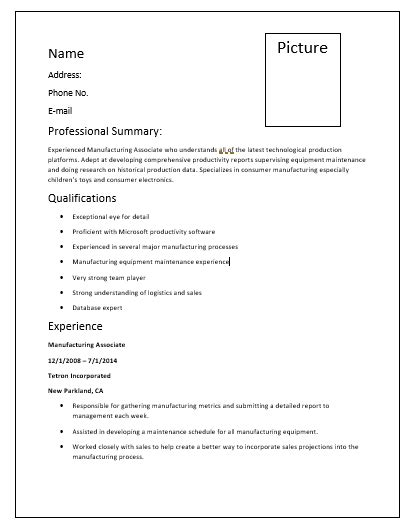 6 manufacturing resume templates printable word excel