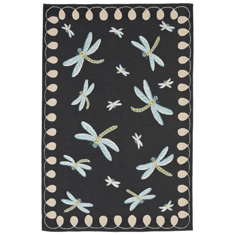 Dragonfly Indoor Outdoor Rug Trans Liora Manne Frontporch Dragonfly Indoor Outdoor Rug Black 7 6 Quot X9 6 Quot