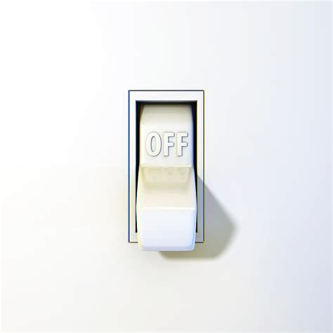 up of a wall light switch in the position by