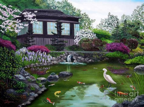 Hakone Gardens by Hakone Gardens Pond In The Painting By Iverson