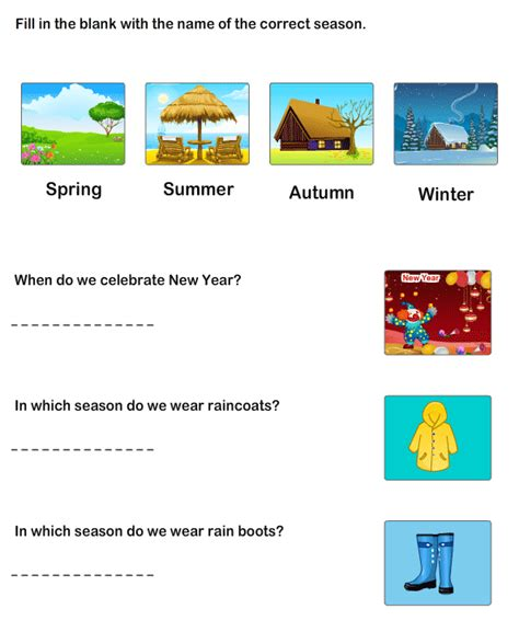 worksheet to learn seasons learning worksheets for