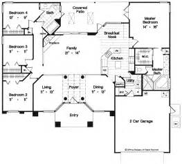 1 Story Home Plans One Story Open Floor Plans With 4 Bedrooms One