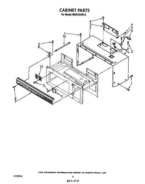 whirlpool microwave parts diagram cabinet diagram parts list for model mh6700xw0 whirlpool