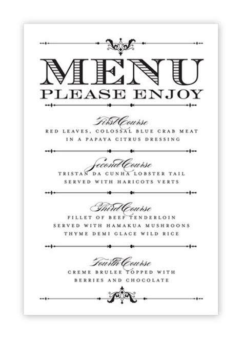 menu card templates free wedding menu card printable diy by hesawsparks on etsy