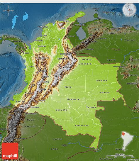 physical map of colombia physical 3d map of colombia darken
