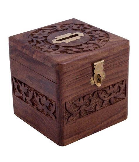 Handmade Money Box - handmade wooden square money piggy bank coin box with