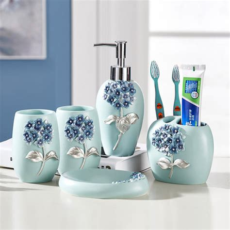 5pcs set creative luxury bathroom accessories set resin