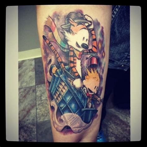 capital ink tattoo this is my doctor who calvin hobbes done by big