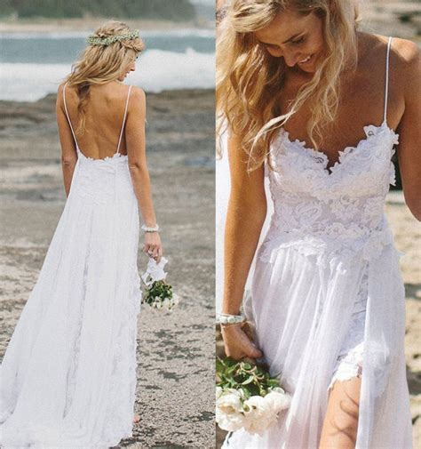 Top Selling Lace Beach Wedding Dresses,Long White Wedding