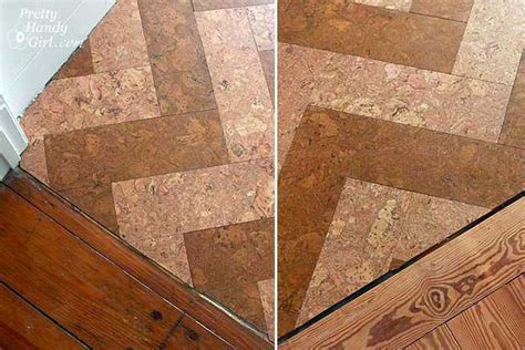 diy herringbone cork tile floor home diy pinterest