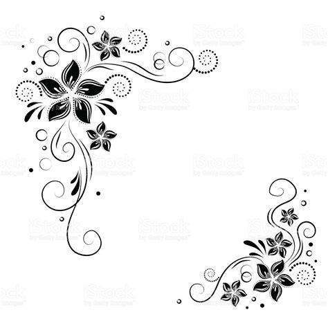 corner template designs floral corner design ornament black flowers on white