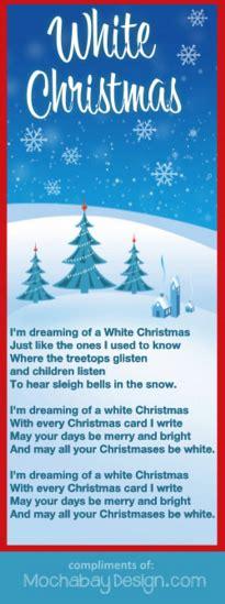 printable lyrics white christmas print white christmas holiday song lyrics bookmark