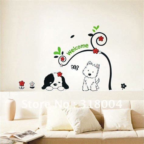 beautiful wall decor two lovely dogs vinyl wall sticker decal room decor
