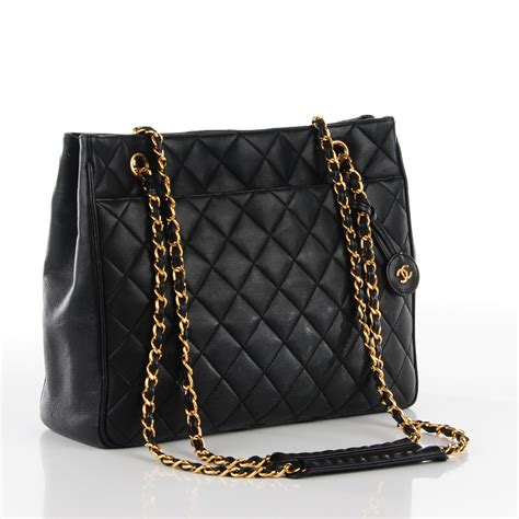 Chanel Black Quilted Tote by Chanel Vintage Lambskin Quilted Shopper Tote Black 113689