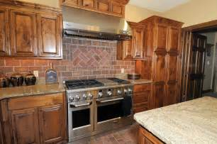 Solid wood kitchen cabinets with brick subway tile backsplash ideas