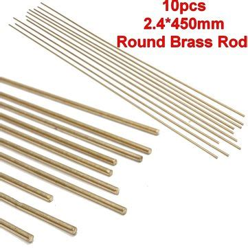10pcs 2 4x450mm Gold Solid Round Bar Lathe Brass Rod Tools