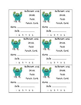 bathroom punch pass card template bathroom and drink punch card by teaching 5th in il tpt