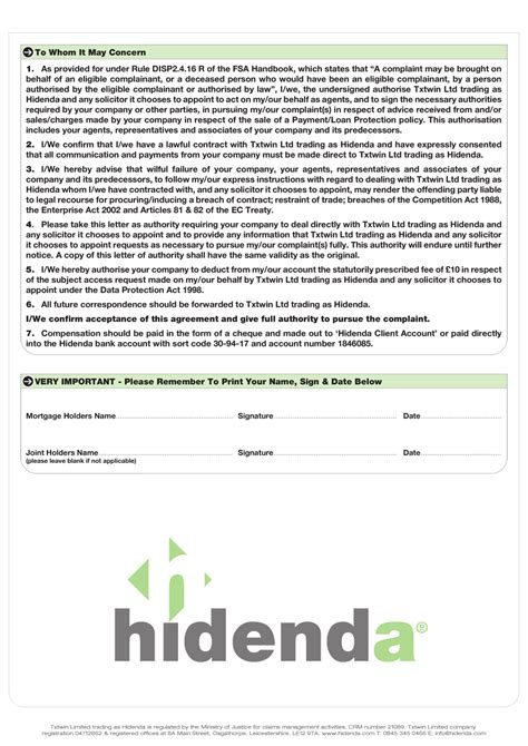 Mortgage Letter Of Authority Hidenda Letter Of Authority Mortgage
