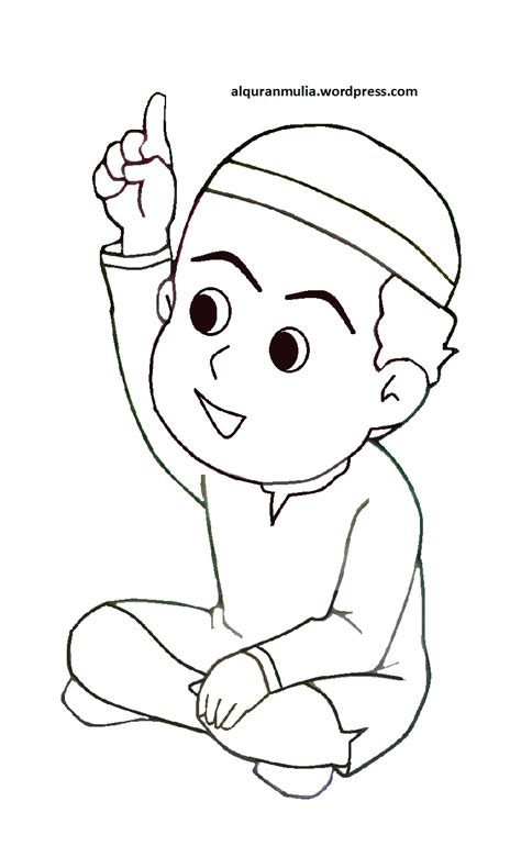 gambar kartun anak muslim coloring coloring of masjid coloring pages