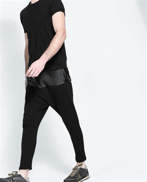 zara synthetic leather trousers with zara baggy faux leather trousers in black for lyst