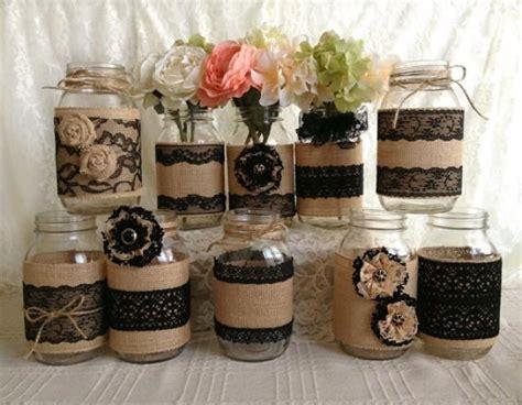 all themes 1 0 10 jar 10x rustic burlap and black lace covered mason jar vases