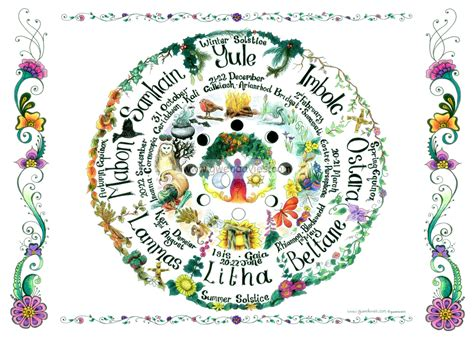 Celebrate Calendar Wheel Of The Year A3 Planner Size Pagan Goddess Wall Image