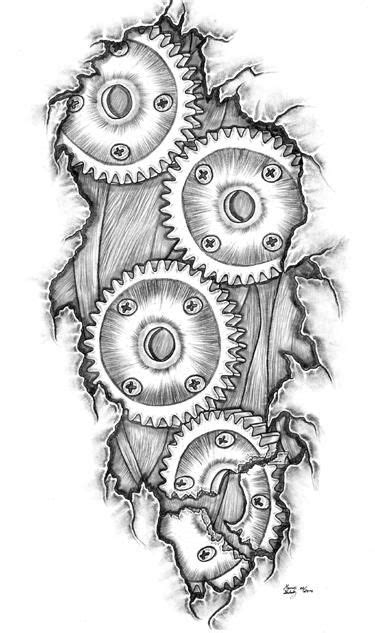 gear tattoo design ripped skin bike gears design bike by tom