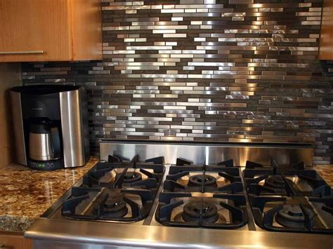 kitchen with stainless steel backsplash stainless steel tile backsplash wall cabinet hardware