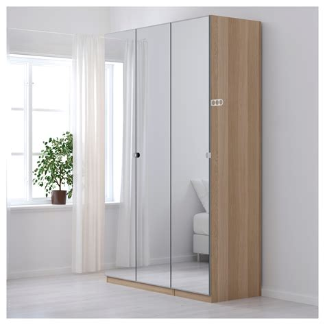 Ikea Pax Closet Doors Pax Wardrobe White Stained Oak Effect Vikedal Mirror Glass 150x60x236 Cm Ikea