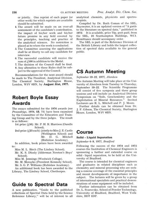 Robert Essay by Robert Boyle Essay Awards Proceedings Of The Analytical Division Of The Chemical Society Rsc